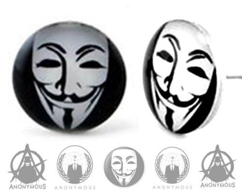 Anonymous Mask V for Vendetta Stud Earrings Fake Stretcher Labret Piercing Ring