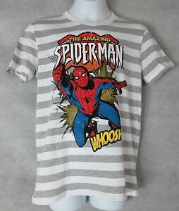 775d38b767c Amazing Spiderman Boys T-Shirt Gray and White Striped Licensed ...
