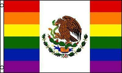 RAINBOW MEXICAN 3X5 FLAG FL562 love gay rights marriage unity pride mexico new