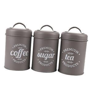 42c29d7dcf6c Set of 3 Tea Coffee Sugar Canisters Kitchen Storage Pots Jars Metal ...
