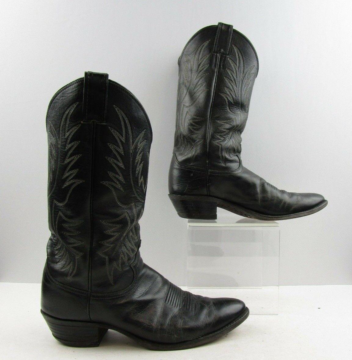 Para hombres cuero negro botas de vaquero occidental Justin Tamaño  9.5 B  estrecho ancho