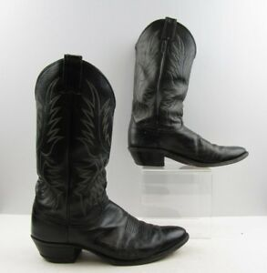decb7f72f78 Details about Men's Justin Black Leather Cowboy Western Boots Size: 9.5 B  *NARROW WIDTH*