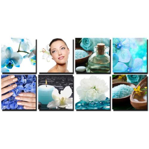 FLORAL 8 Pc Beauty Salon Spa Massage Decal Decoration 24 x 24 Canvas Mural CM-BF