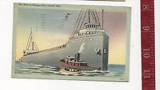 1950 Vintage Linen Post Card Ore Boat Maumee Bay Toledo  Ohio FREE SHIPPING