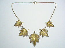 Big Vintage Sterling Silver gilt filigree Leaf Necklace