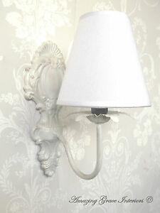 French shabby chic ornate vintage style wall light with lampshade image is loading french shabby chic ornate vintage style wall light aloadofball Choice Image