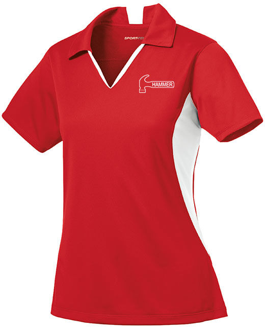 Hammer Women's Razyr Performance Polo Bowling Shirt Dri-Fit Red White