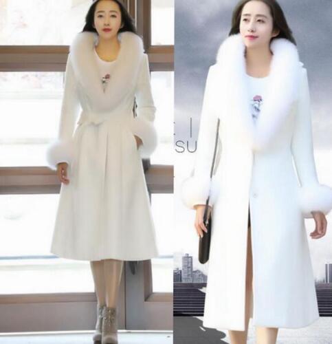 Ull Coat Faux Parka White Blend Full Slim Long Collar Fur Trench Winter Kvinder Fx6Uqw5