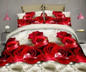 3D-Bedding-Set-of-4pc-Pearl-Red-Rose-Floral-Wedding-Sheet-Duvet-Cover-Pillowcase