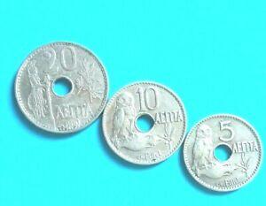 GREECE 1912 GREEK COIN 5-10-20 LEPTA SET OF 3 COINS G-VG CENTS