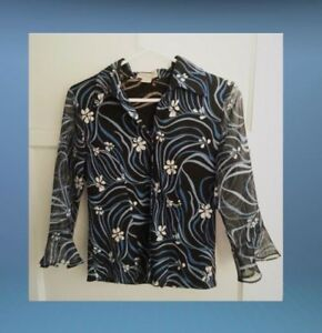 Clothing-Co-By-Notations-Blouse-Shirt-Size-Small-Blue-White-Brown-3-4-Sleeve