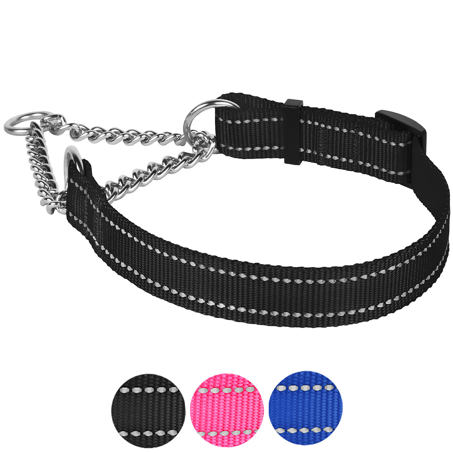 TSPRO Martingale Dog Collar Chain Collar Slip Training Choke Collar Adjustable Stainless Steel Chain Dog Collars for Large Dog
