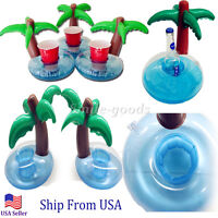 Inflatable Palm Island Drink Holder 5 Pack, Float Your Drinks In Style