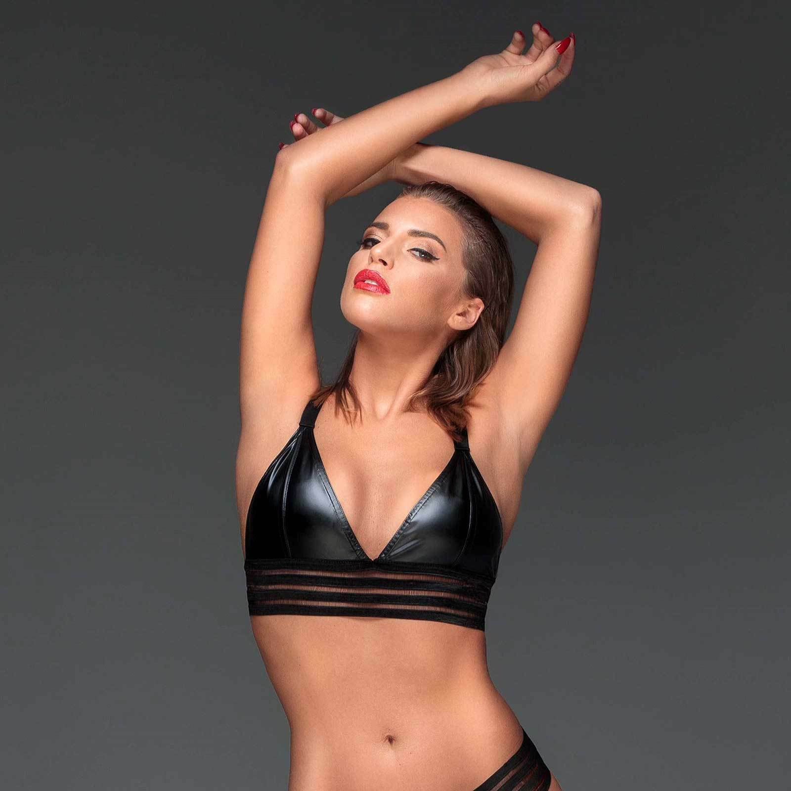 black HANDMADE Powerstripe Bralette Wetlook Bustier BH Streifendesign Bra