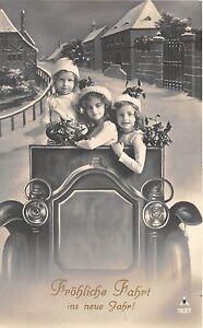 BG8751-children-girl-mistletoe-car-voiture-neujahr-new-year-greetings-germany