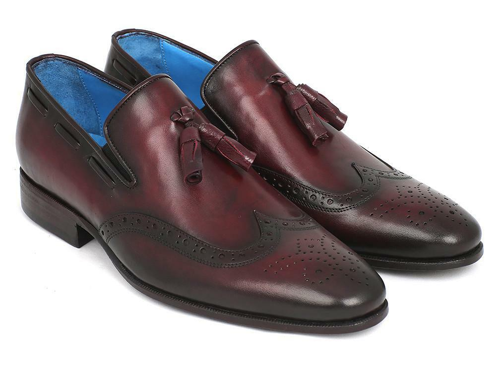 Paul Parkman Men's Wingtip Tassel Loafers Bordeaux (ID WL34-BRD)