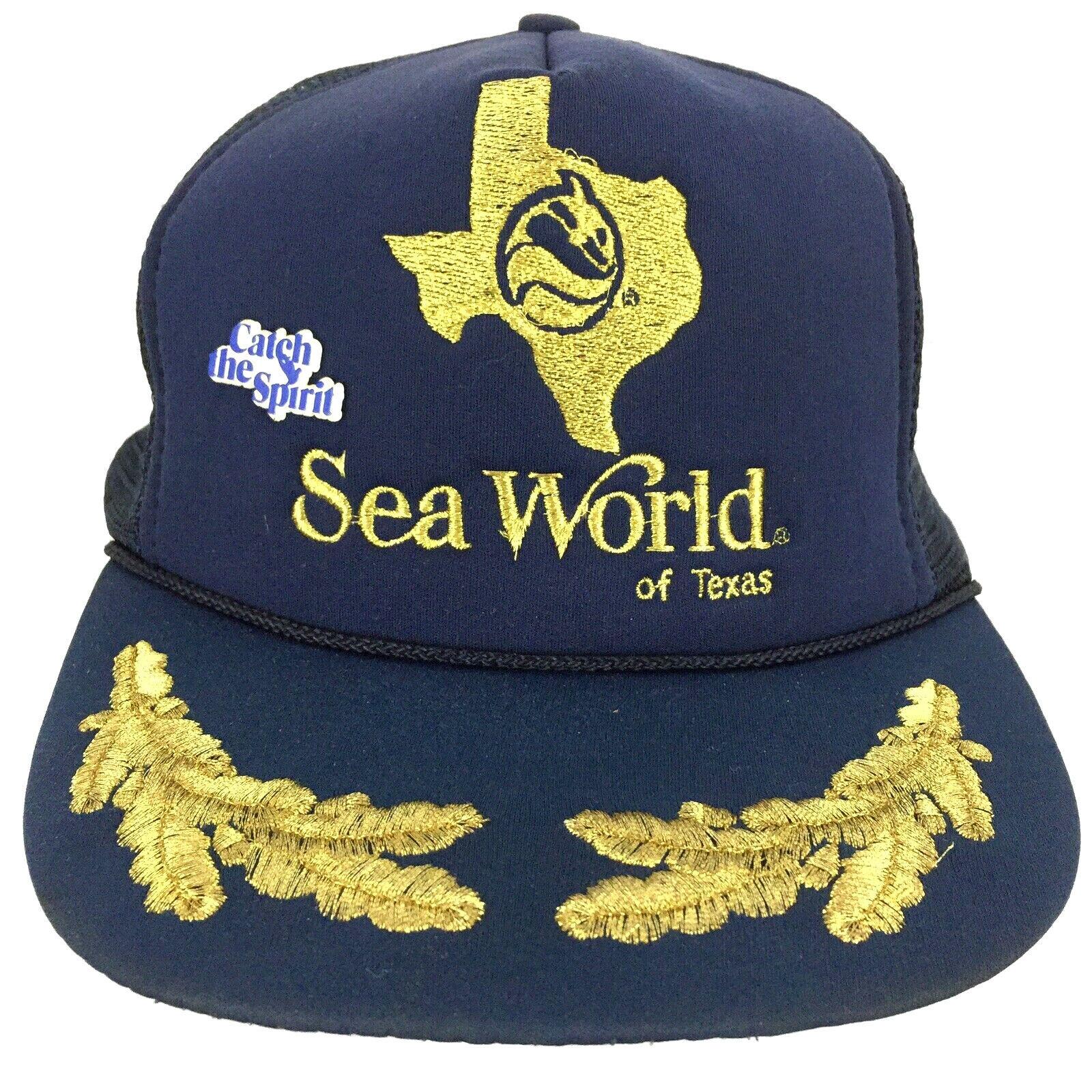 Vtg Sea World Of Texas Cap Catch Spirit Pin Snap Back Logo Trucker Baseball Hat