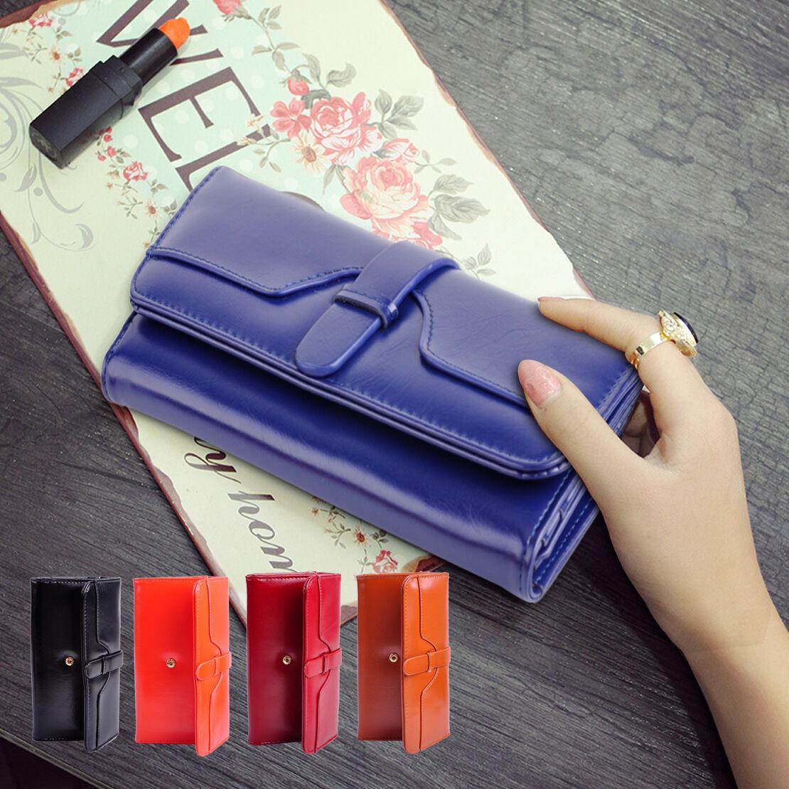 Fashion Long Wallet Clutch Purse Card Holder Button Cash Coin Bag Envelope Women
