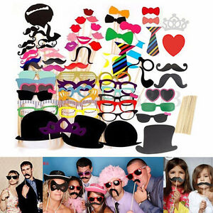 58 party photo booth selfie props colourful wedding moustache lips fun on sticks ebay. Black Bedroom Furniture Sets. Home Design Ideas