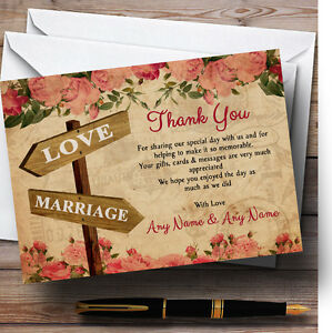 Rustic Pink Roses Signpost Personalised Wedding Thank You Cards Ebay