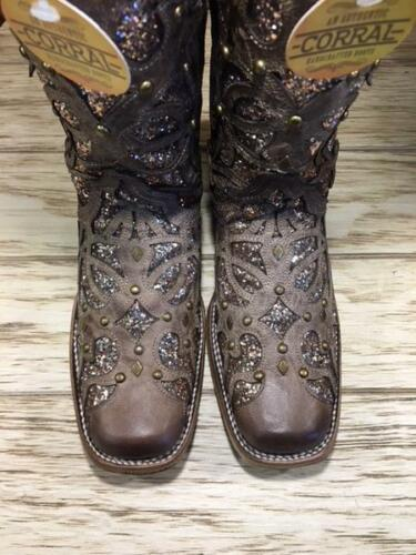 Inlay Toe Women's Boots Studs Orix Corral Brown Glittered C3275 Square amp; wIq8T6