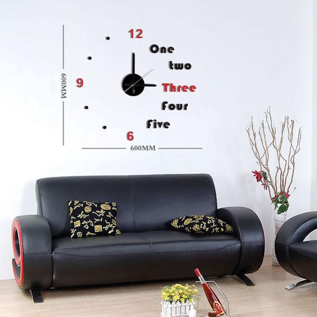 DIY Home Decor Wall Clock 3D Black & Red Stickers Art Time Novelty Watch 10E031