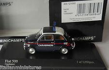 Fiat 500 Carabinieri 1965 Minichamps 1/43 400 121690 Mint Condition