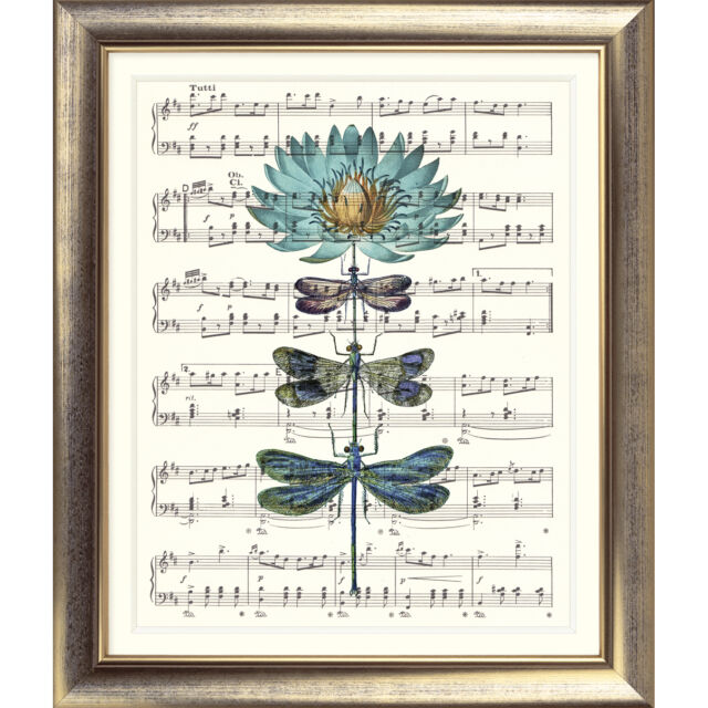 ART PRINT ORIGINAL VINTAGE MUSIC SHEET Page DRAGONFLY FLOWER Turquoise Flower