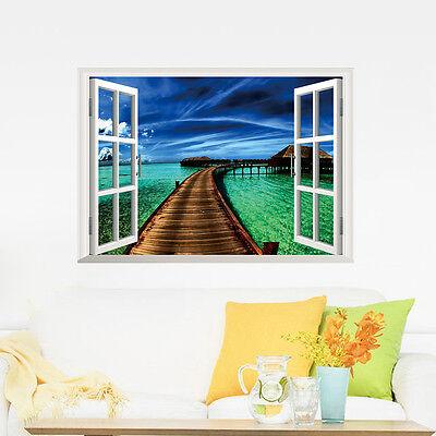 3D window Ocean Sea Cloud Castle Art Beautiful Mural Wall sticker wall decals