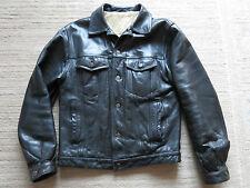 Levis USA  black leather trucker vest  size medium, perfect condition.