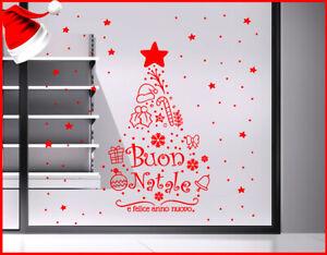 Adesivi Buon Natale.Adesivi Vetrina Albero Vetrofania Buon Natale Anno Nuovo Decorazione Natalizia Ebay