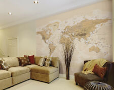 ohpopsi Sepia World Map Modern Map of the World Wall Wall Art