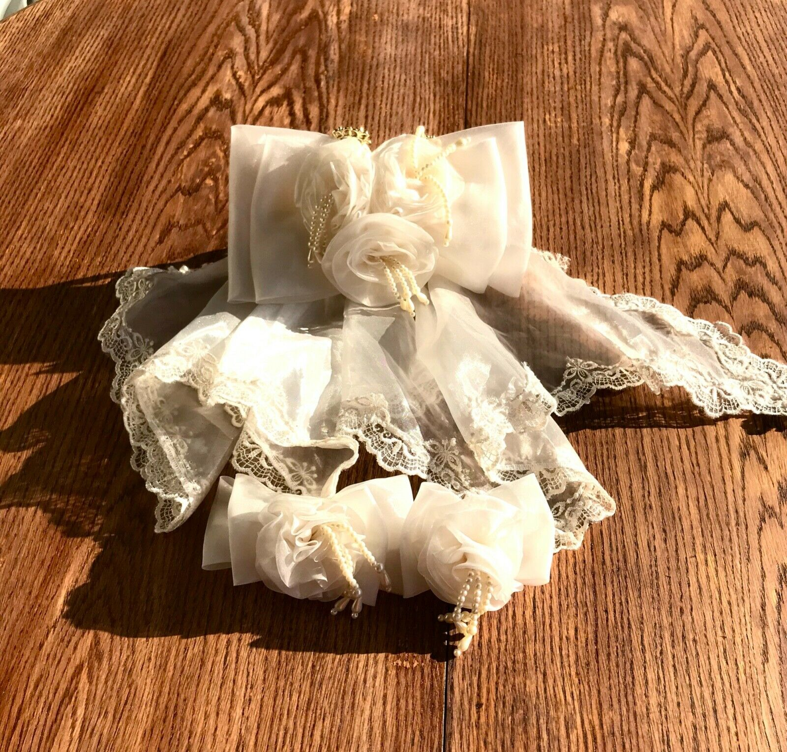 Vintage French bridal veil 3 headpieces Accessories Ivory tulle lace Pearls Flow