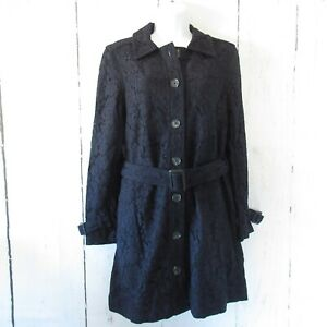 New-178-Cupcakes-And-Cashmere-Trench-Coat-S-Small-Navy-Blue-Lace-Jacket