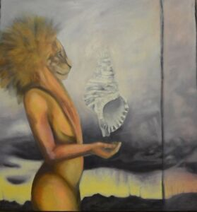 Art Original Oil Painting Lion Woman Multicolored Clouds Seashell