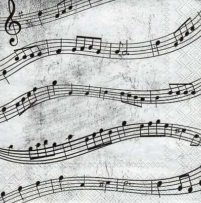 6 x PAPER NAPKINS for Decoupage MUSIC NOTES SMALL COCKTAIL SIZE