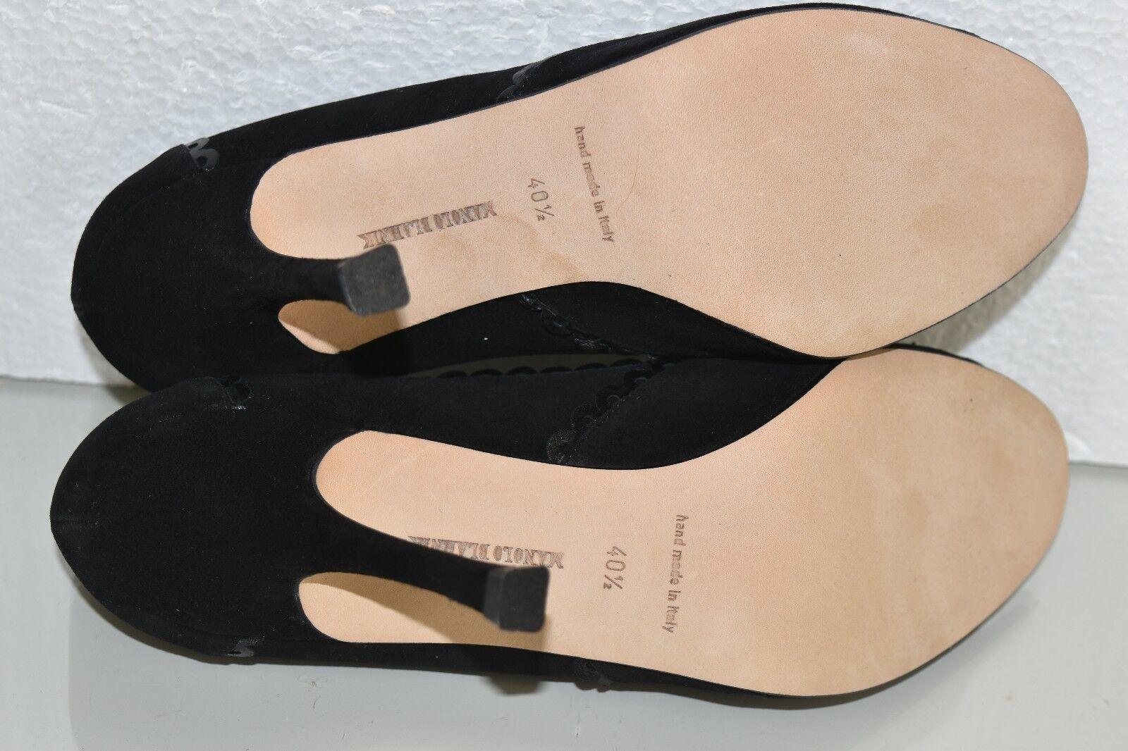 NEW Manolo Blahnik HENRI 105 105 105 Peep Toe Suede Heels Pumps Black Leather shoes 40.5 8ed632