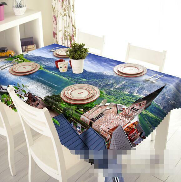 3D Sea House 4 Tablecloth Table Cover Cloth Birthday Party Event AJ WALLPAPER AU