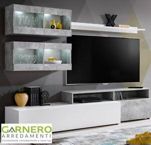 Dettagli su Parete attrezzata BOSTON mobile soggiorno salotto porta tv  televisione cemento