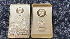 Russian USSR president Putin gold plated bullion bar, medal coin Ingot KREMLIN