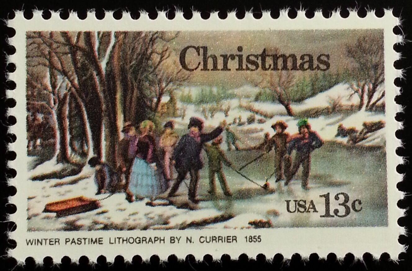 "1976 13c Christmas ""Winter-Pastime"", Currier Scott 1703"