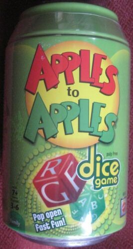 Apples to Apples Dice Game Metal Can Refreshing Pop Open Fast Fun By Mattel NEW