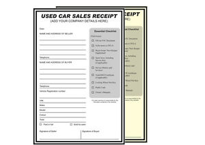 a4 duplicate used car sales receipt x2 pads 50 sets per pad any