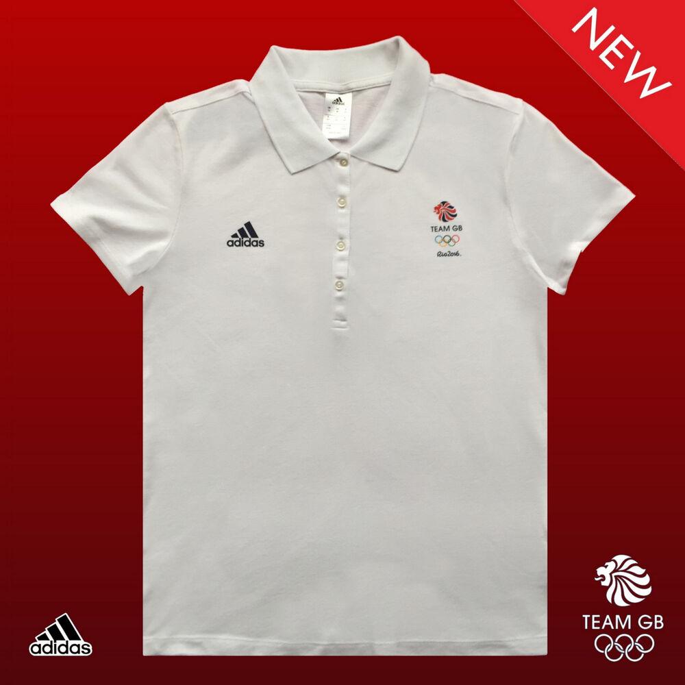 """Adidas Team Gb Problème Femelle Sportif D'élite Présentation Polo Shirt Taille 12 34"""""""