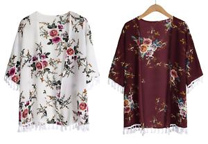 Women-S-XL-Kimono-Cardigan-Open-tunic-Outerwear-Short-Sleeve-Floral-Print-Tassel