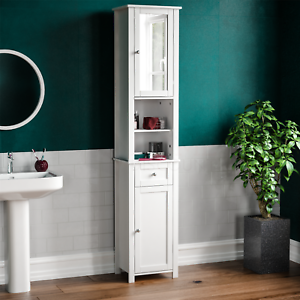 Priano Tall Bathroom Cabinet Mirrored, Tall Bathroom Shelving Units