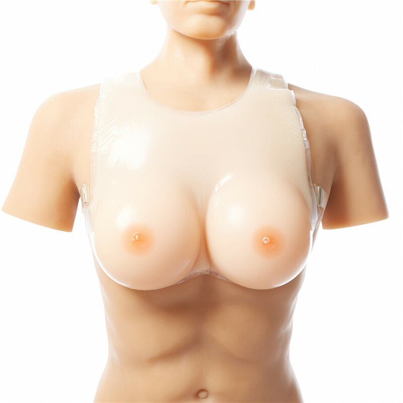 Queen Fake Boobs Silicone Breast Forms Enhancer Strapped Cross Dress S-5XL