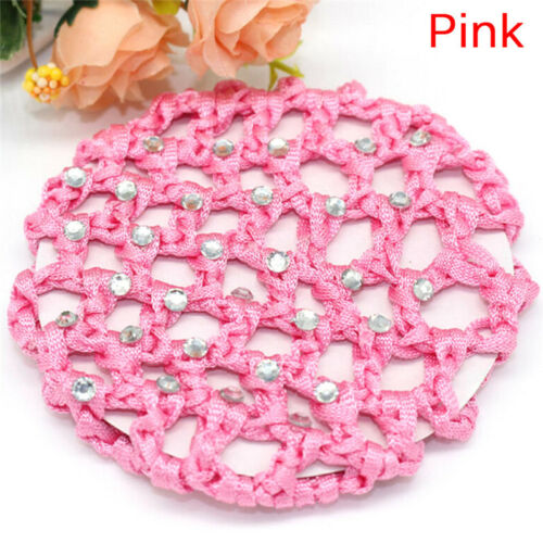 Women Bun Cover Snood Hair Net Ballet Dance Skating Crochet Chic Rhinestone QWZY