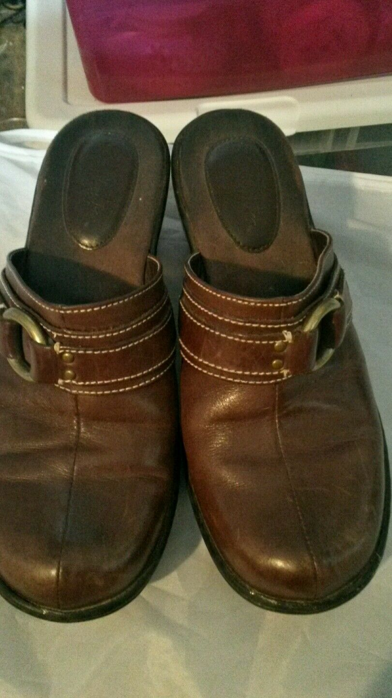 CLARKS WOMEN'S SIZE 8M BROWN MULES SLIP ON CLOGS MULES BROWN fc7b3d
