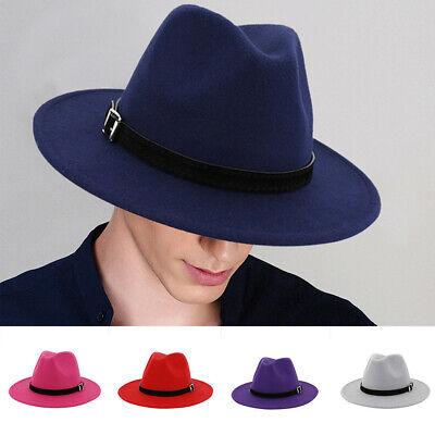 Unisex Vintage Wide Brim Fedora Hat British Style Trilby Hat with Belt Buckle